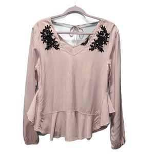 Tresics Luxe NWT Striped Embroidered Boho Top P306